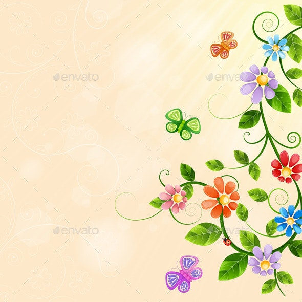 Floral Illustration with Colorful Flowers. - Flowers & Plants Nature