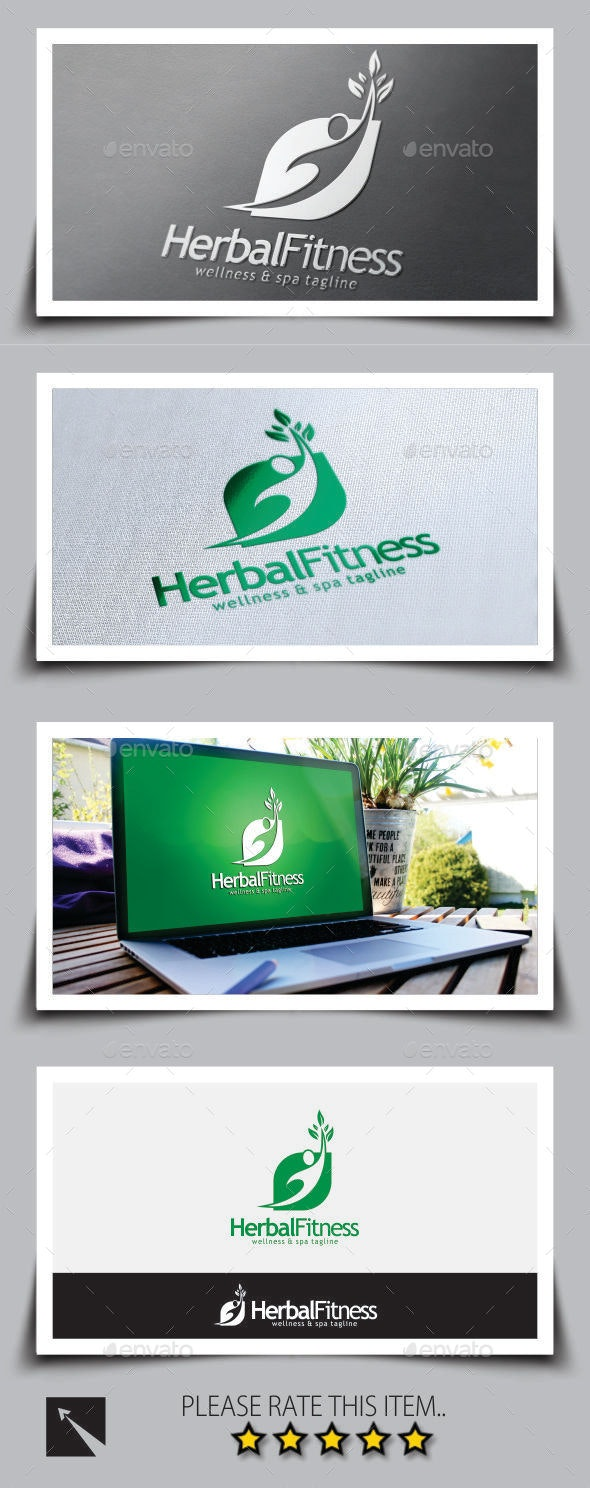 Herbal Fitness Logo Template - Humans Logo Templates