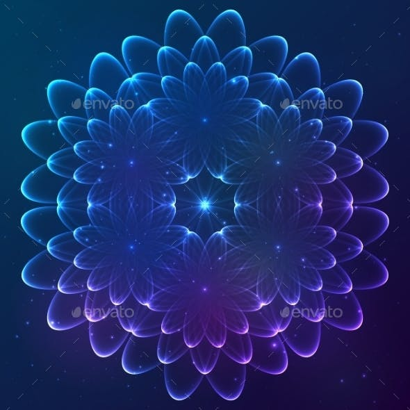 Blue Shining Vector Cosmic Flower