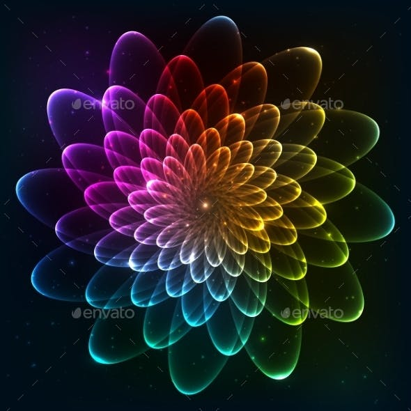 Rainbow Colors Vector Cosmic Flower