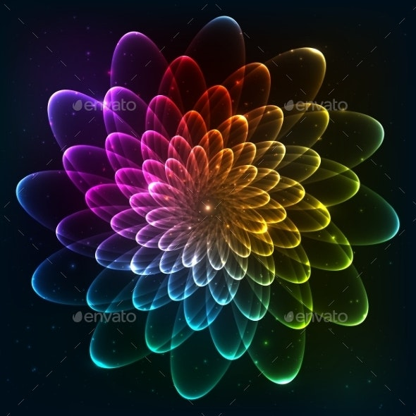 Rainbow Colors Vector Cosmic Flower - Abstract Conceptual