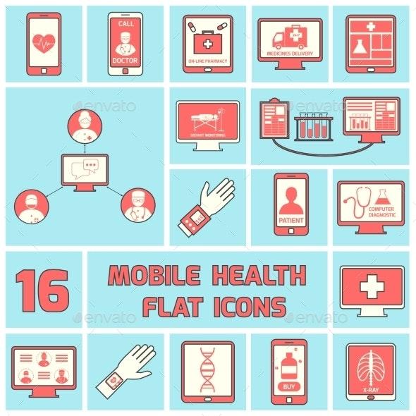 Mobile Health Icons Set Flat Line - Health/Medicine Conceptual