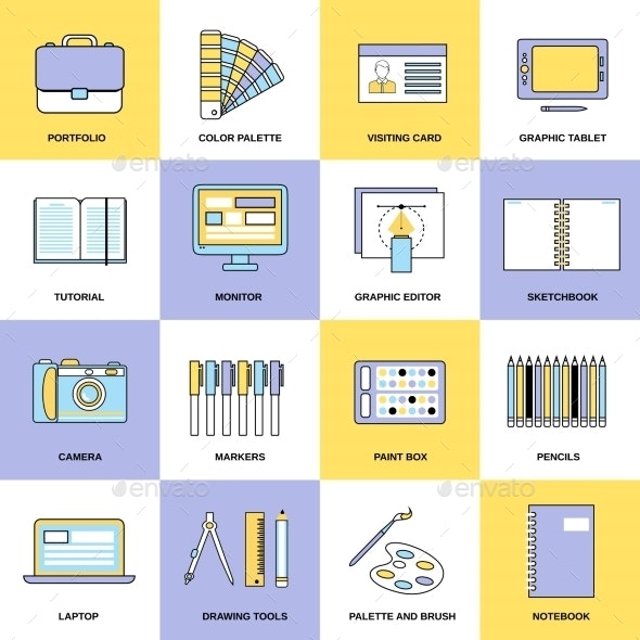 Design Flat Line Icons - Web Icons