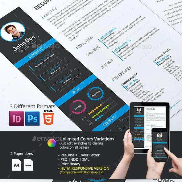 2-Piece Resume/CV with HTML Version