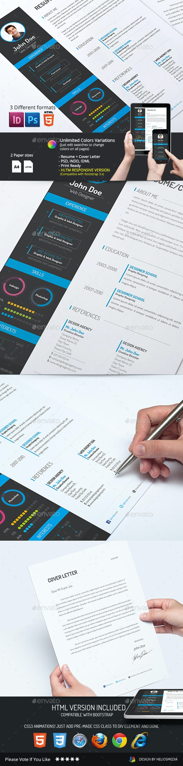 2-Piece Resume/CV with HTML Version - Resumes Stationery