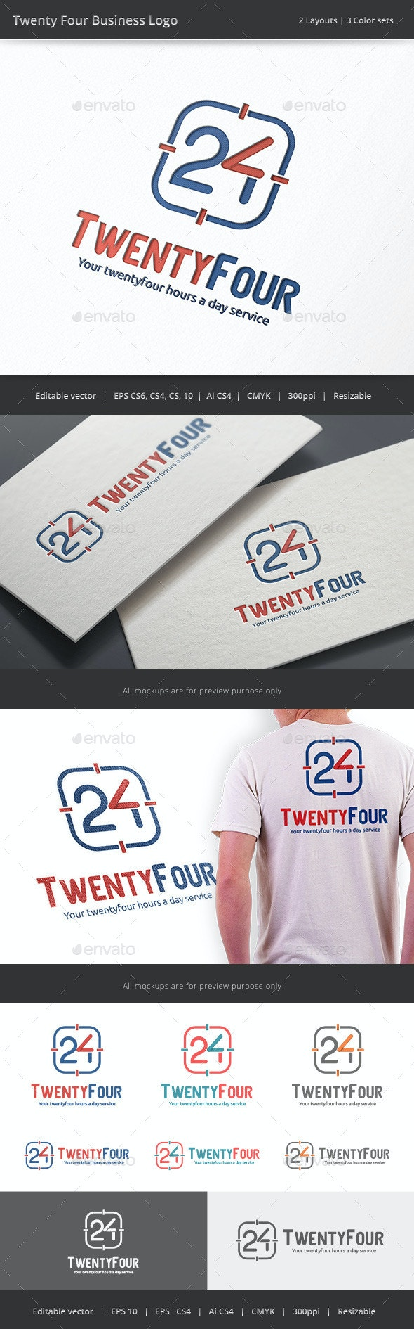 Twenty Four Business - Number 24 Logo - Numbers Logo Templates