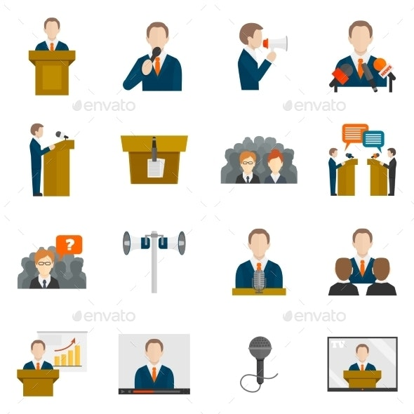 Public Speaking Icons - People Characters