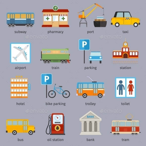 City Infrastructure Icons - Buildings Objects