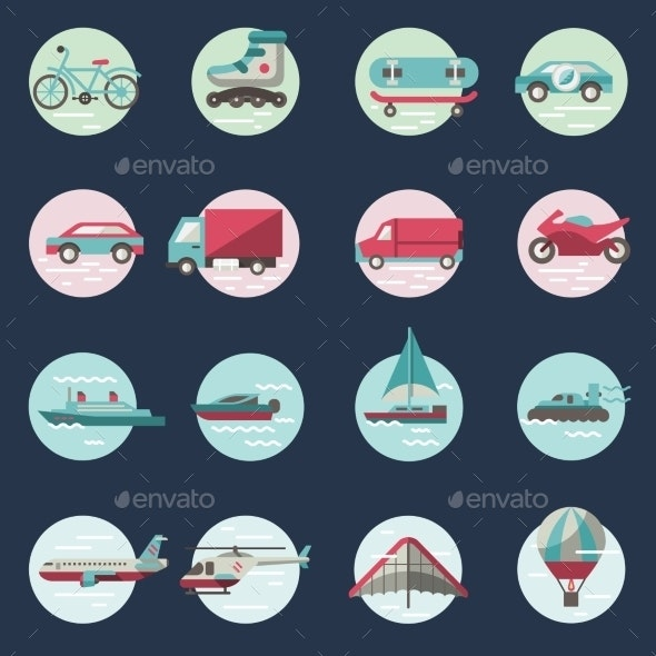 Transport Icons Round Set - Web Elements Vectors