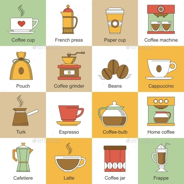 Coffee Icons Flat - Food Objects