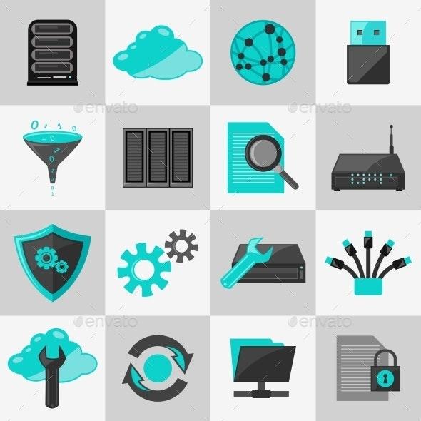 Database Icons Flat - Web Technology