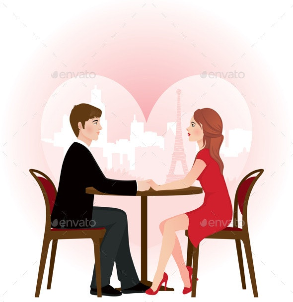 Loving Couple on a Date in the Cafe - People Characters