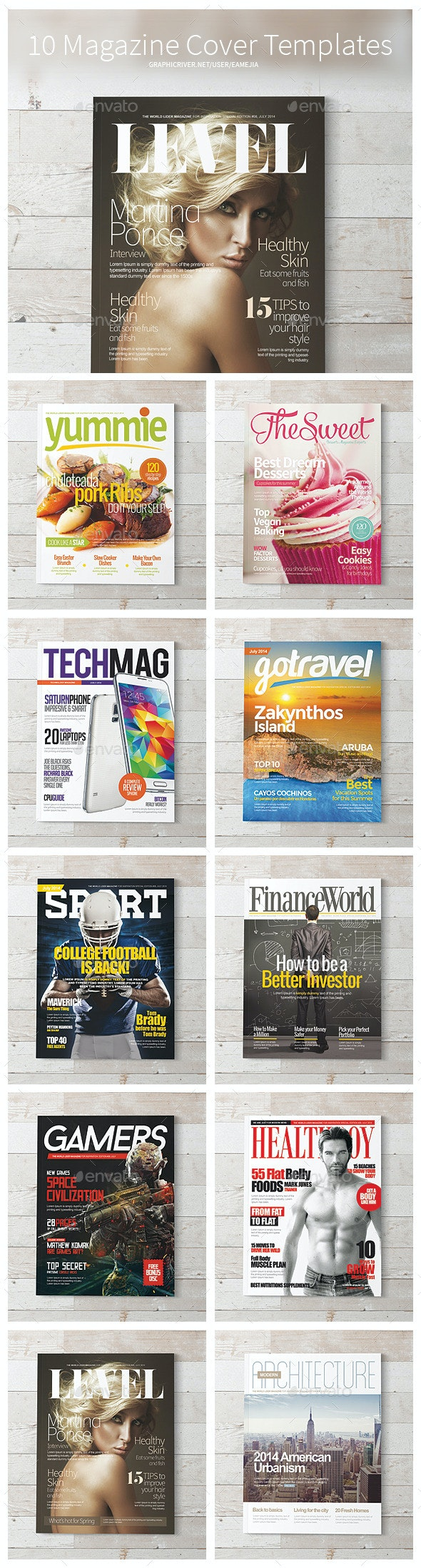 Magazine Covers Templates PSD - Magazines Print Templates