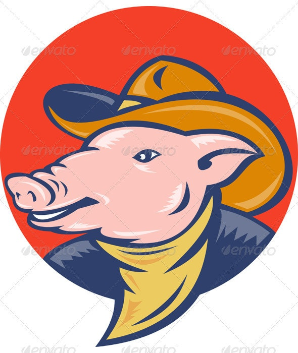 Pig Wearing Cowboy Hat - Animals Characters