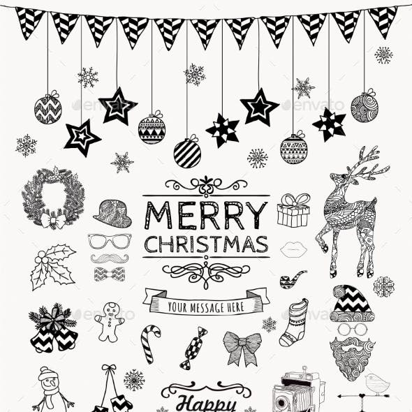 Set of Hand-Drawn Outlined Christmas Doodles