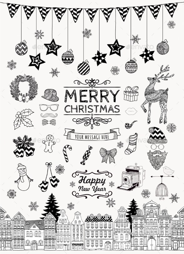 Set of Hand-Drawn Outlined Christmas Doodles by helga