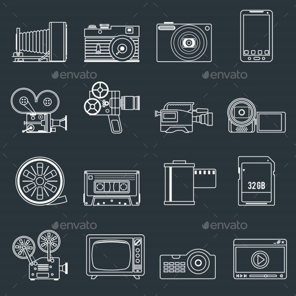 Photo Video Icons Set Outline - Web Elements Vectors