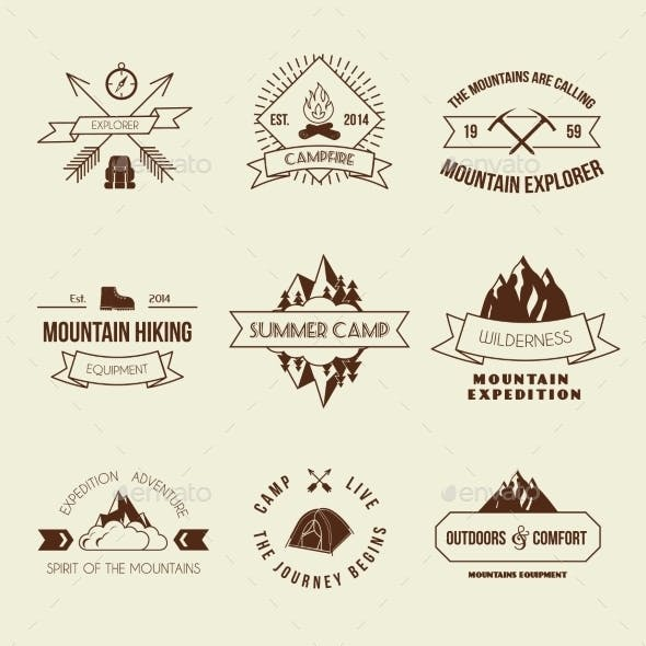 Camping Labels Set