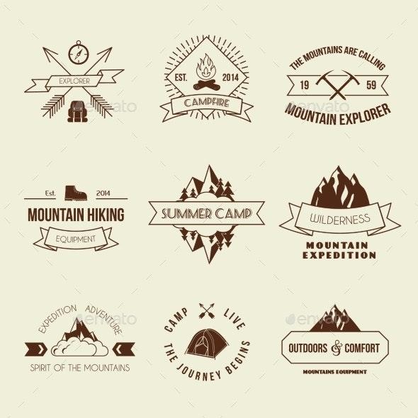 Camping Labels Set - Travel Conceptual