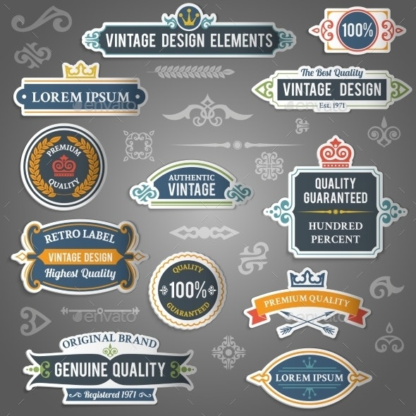 Vintage Design Stickers - Decorative Symbols Decorative