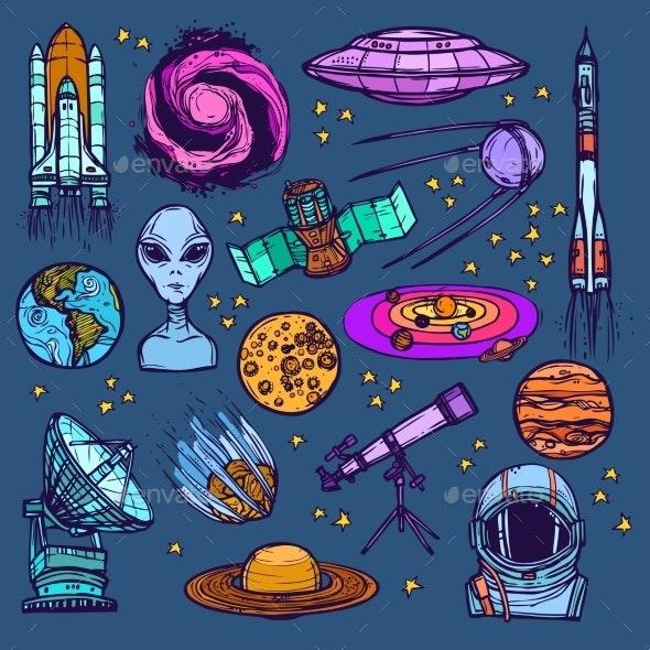 Space Sketch Set Colored - Travel Conceptual