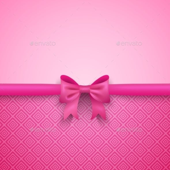 Romantic Pink Background with Bow