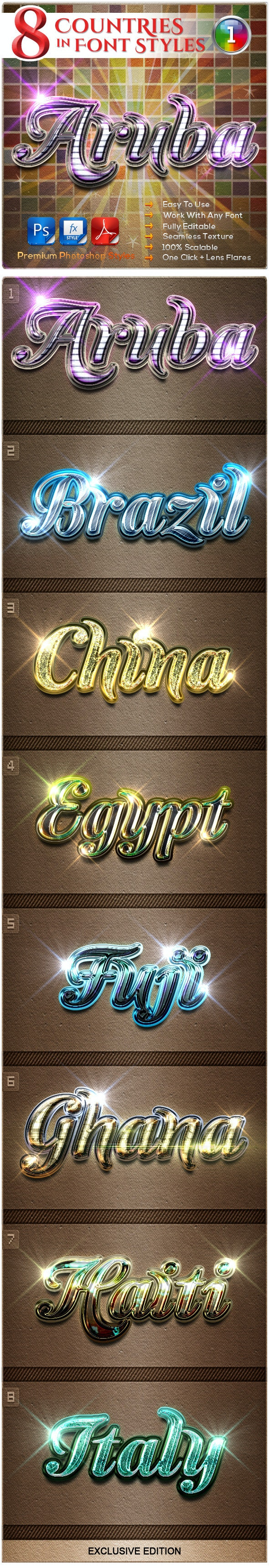 8 Countries in the Font Style #1 - Text Effects Styles
