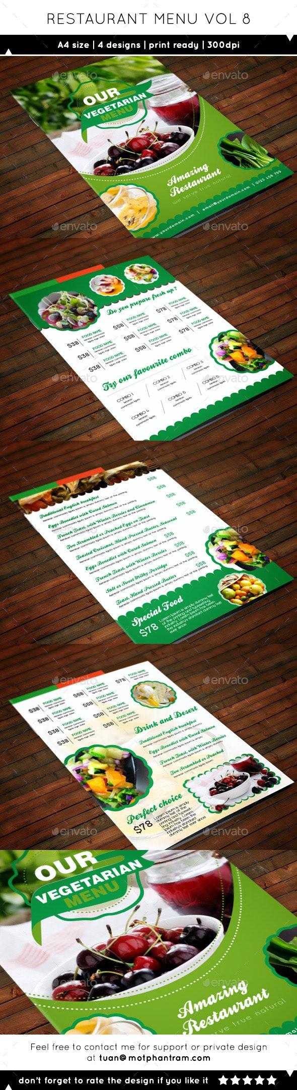 Restaurant Menu A4 Vol8 - Food Menus Print Templates
