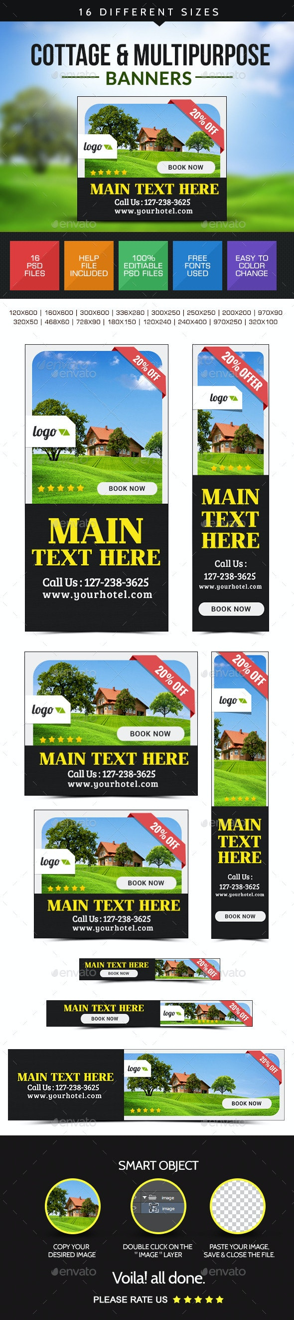 Cottage for Rent Banners - Banners & Ads Web Elements