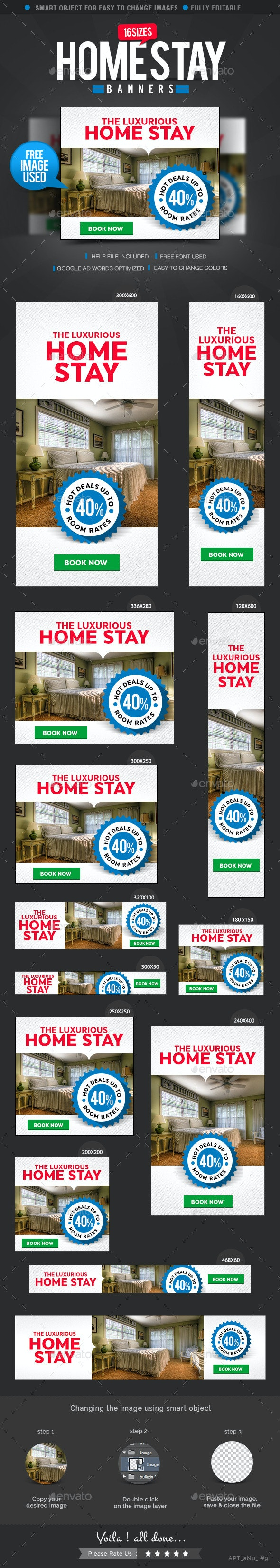 Home Stay Web Banners - Banners & Ads Web Elements