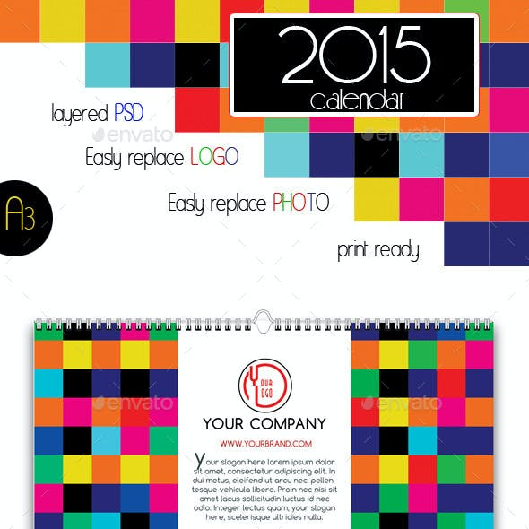 2015 Colorful Wall Calendar A3
