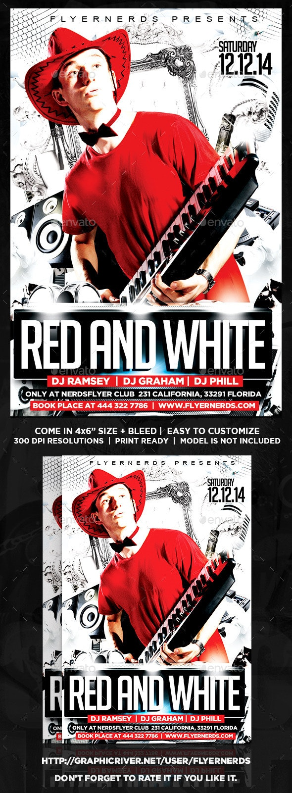 Red and White Party Flyer  - Clubs & Parties Events