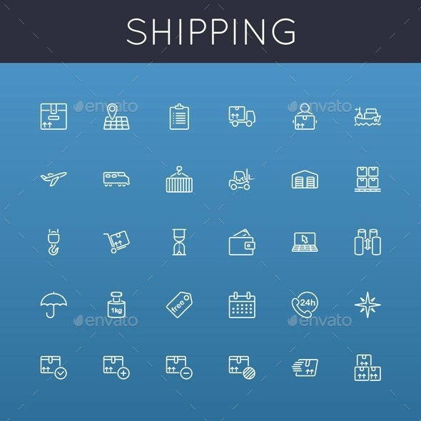 Vector Shipping Line Icons - Business Icons