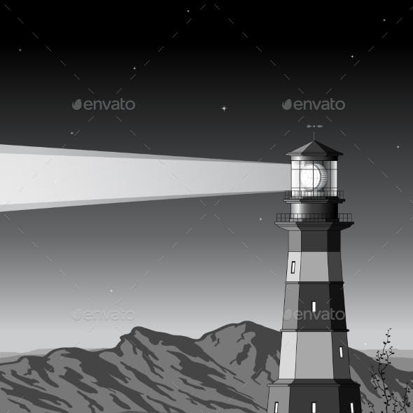 Night Landscape with Detailed Lighthouse