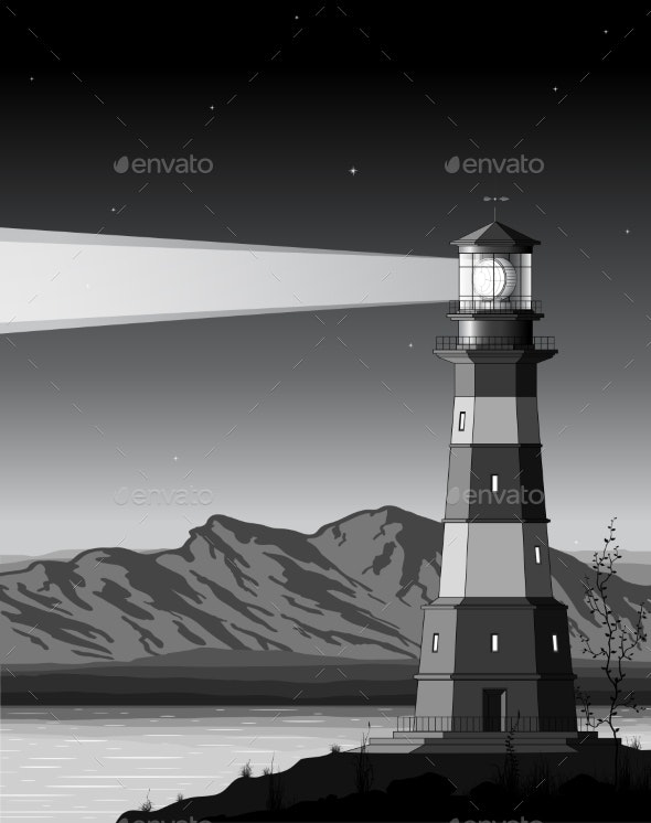 Night Landscape with Detailed Lighthouse - Buildings Objects