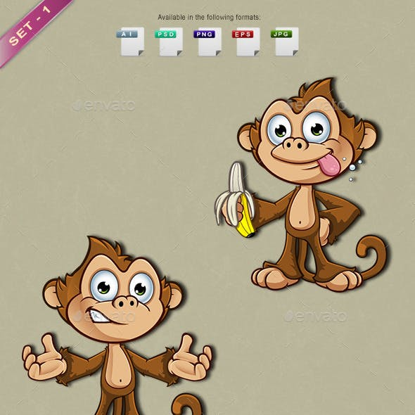 Cheeky Monkey Character - Set 1