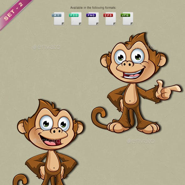 Cheeky Monkey Character – Set 2
