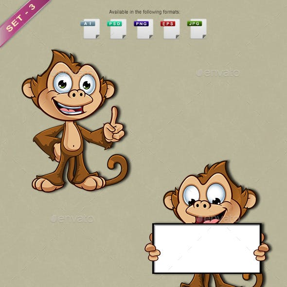 Cheeky Monkey Character - Set 3