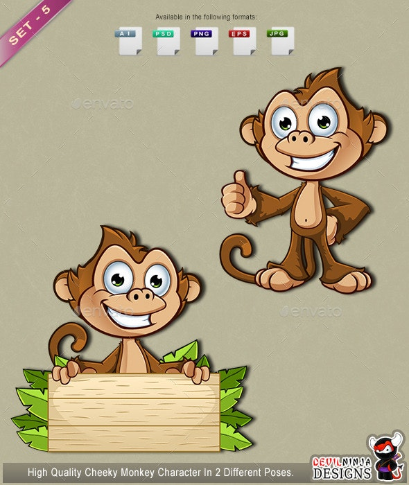 Cheeky Monkey Character - Set 5 - Animals Characters
