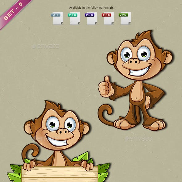 Cheeky Monkey Character - Set 5