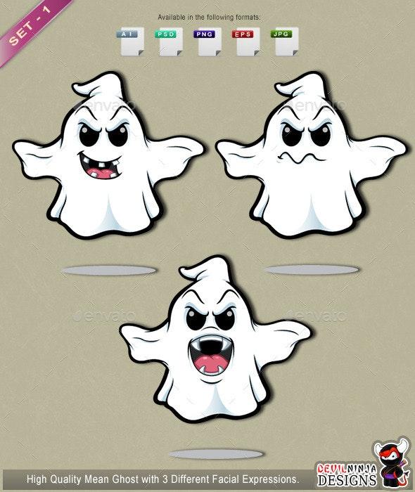 Mean Cartoon Ghost – Set 1 - Monsters Characters
