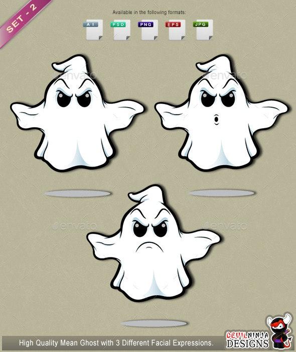 Mean Cartoon Ghost - Set 2 - Monsters Characters