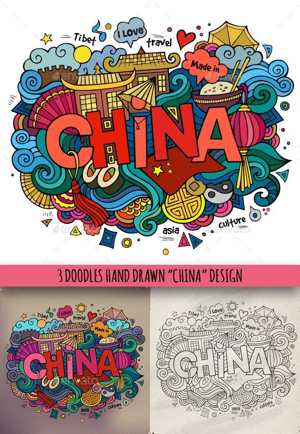 3 China Doodles - Travel Conceptual