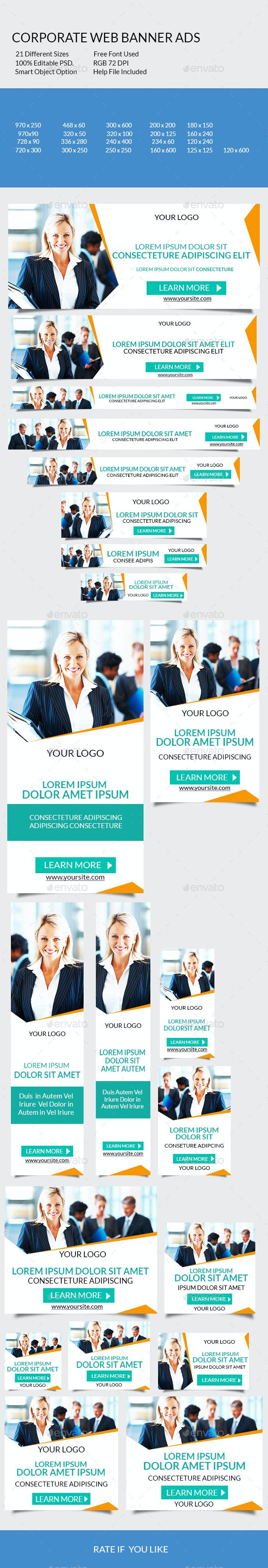 Corporate Web Banner Ads - Banners & Ads Web Elements