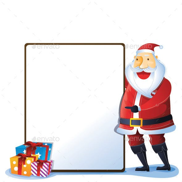 Santa with Sign and Gift Box