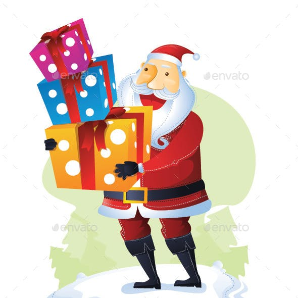 Santa Standing with a Pile of Gift Boxes