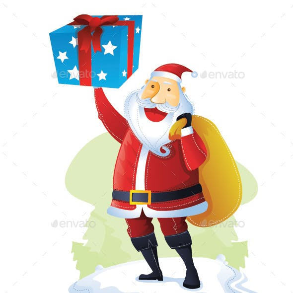 Santa with One Gift Box