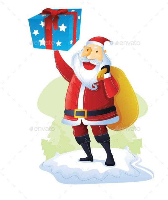 Santa with One Gift Box - Christmas Seasons/Holidays