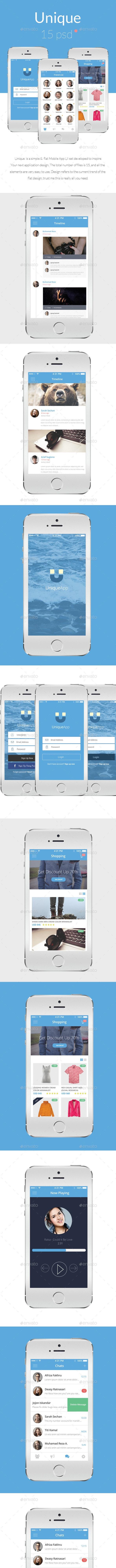 UniqueApp - Flat Mobile App UI Design - User Interfaces Web Elements