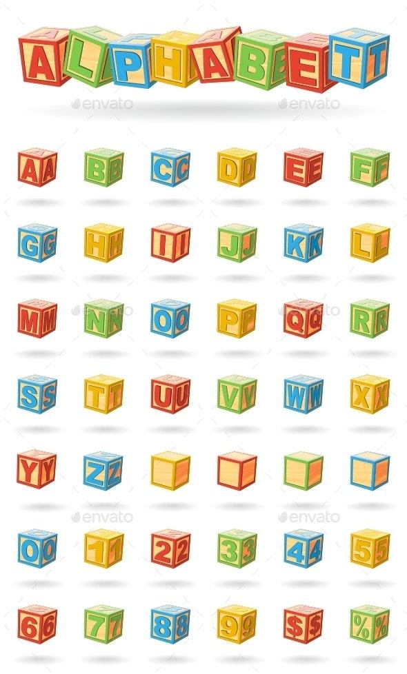 Alphabet On Baby Cubes - Objects Vectors